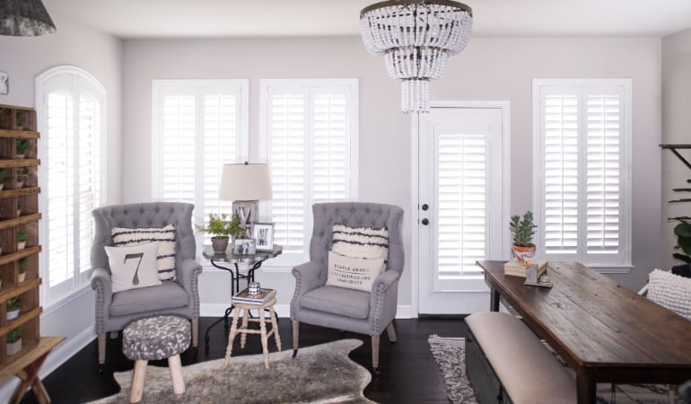 Plantation shutters in a Las Vegas living room